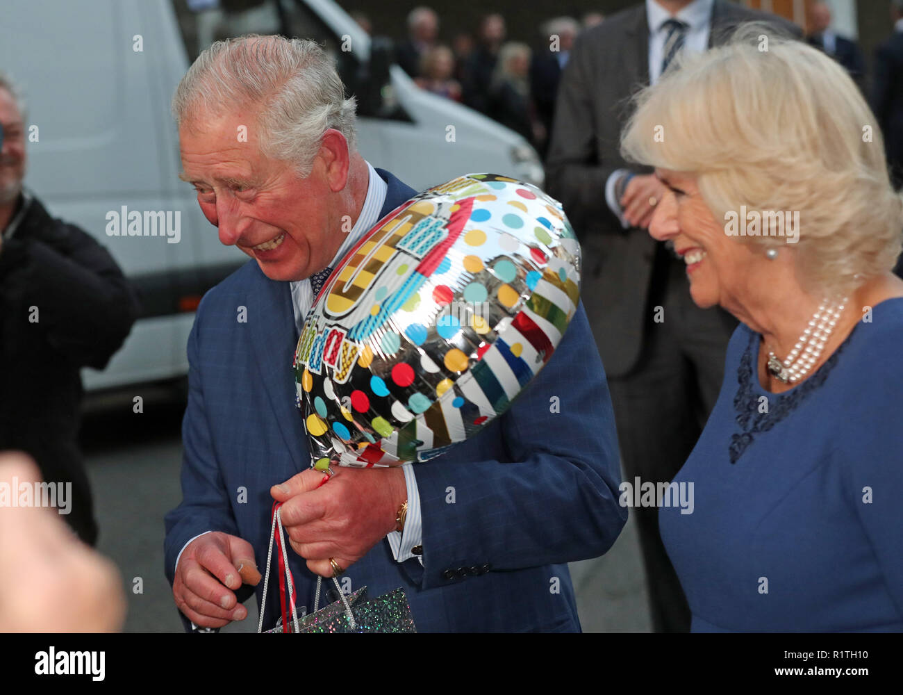 The Prince Of Wales Holds A Birthday Gift As He And Duchess Cornwall Arrive For Tea Party At Spencer House In London To Celebrate 70 Inspirational