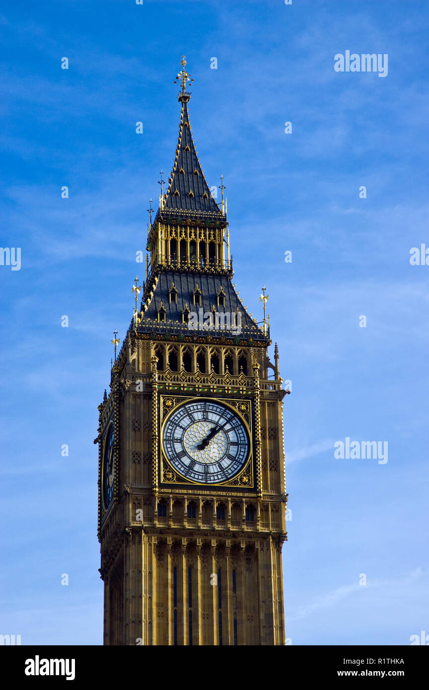 """""""Big Ben"""" is the famous neo-gothic clock and tower at the Palace of Westminster, London, England. Stock Photo"""