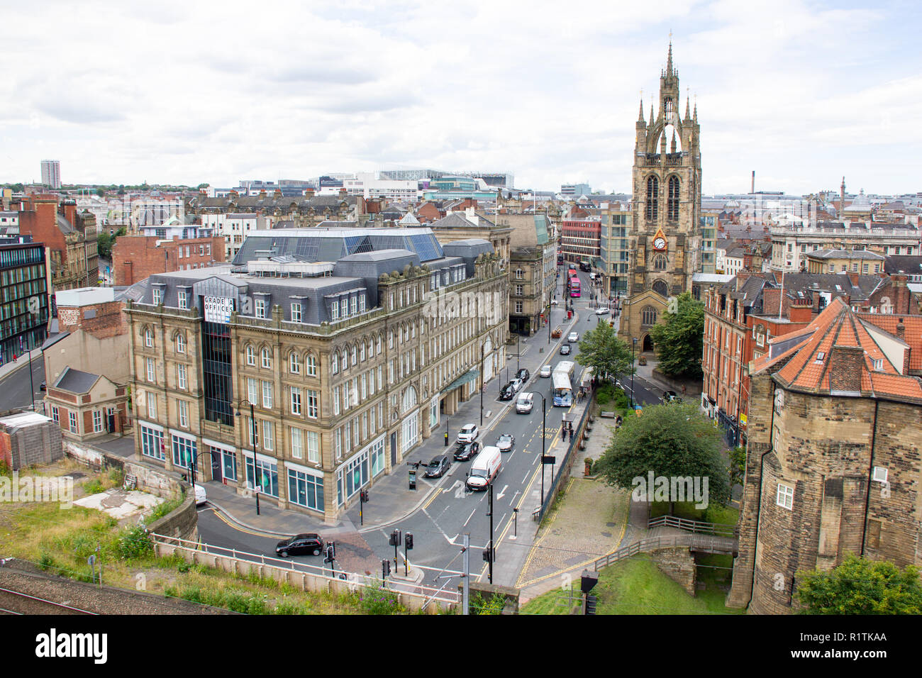 Newcastle upon Tyne/England - July 31st 2012: Newcastle Skyline railway though the city. View from Castlekeep Stock Photo