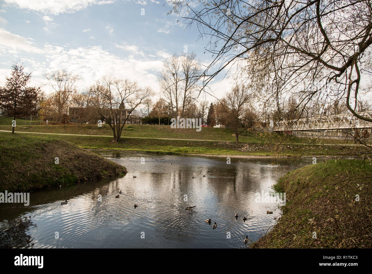 tributary of Lucina and Ostravice rivers near Slezskoostravsky hrad castle in Ostrava city in Czech republic during autumn day with blue sky and cloud - Stock Image