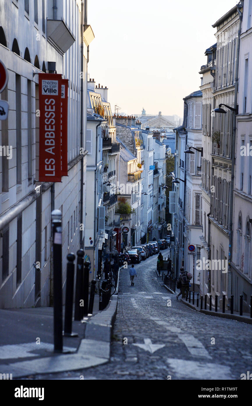 Paris Street - Rue Germain Pilon - Montmartre - Paris - France - Stock Image