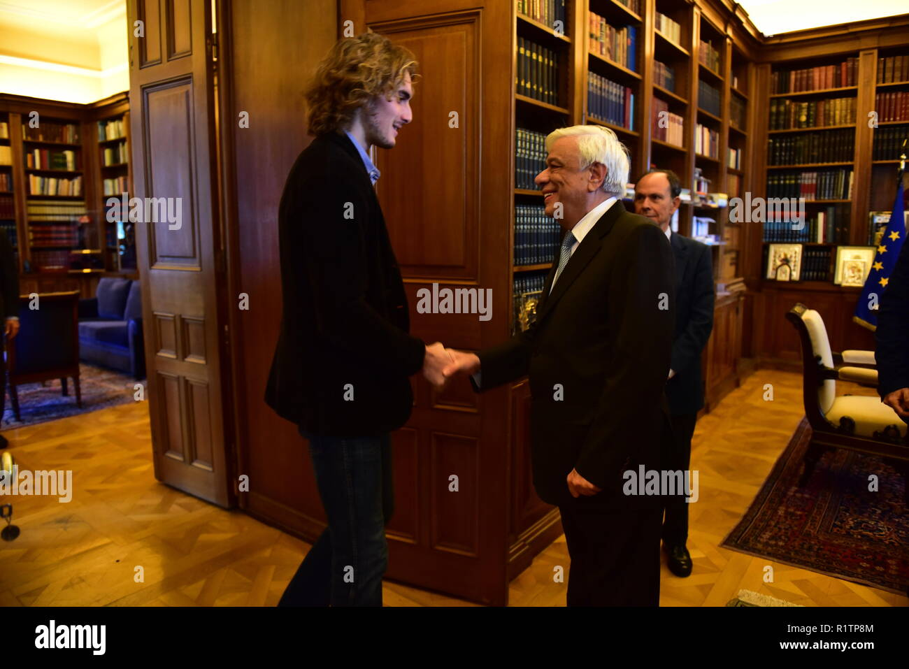 Athens Greece 14th Nov 2018 Handshake Of President Of Hellenic Republic Prokopis Pavlopoulos Right And Of Stefanos Tsitsipas Left In The Presidential Mansion Credit Dimitrios Karvountzis Pacific Press Alamy Live News Stock Photo