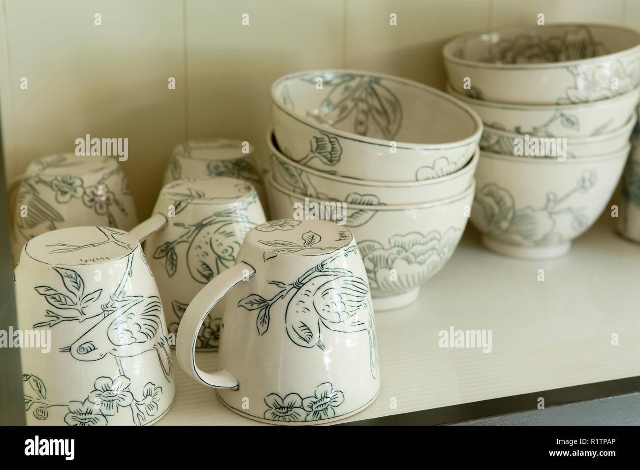 Bird themed tableware Stock Photo