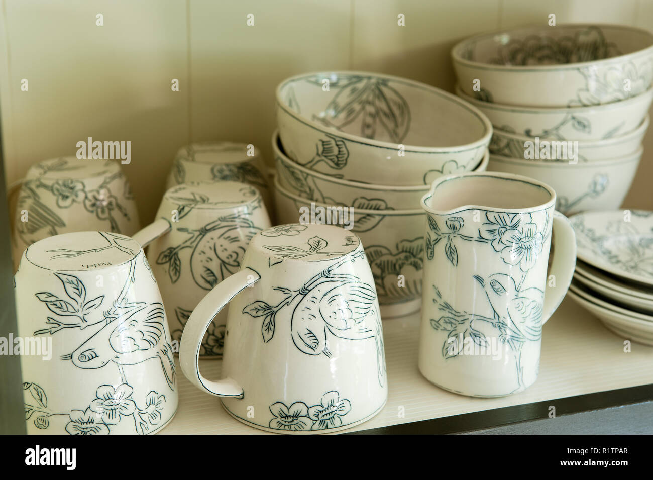 Bird themed tableware Stock Photo
