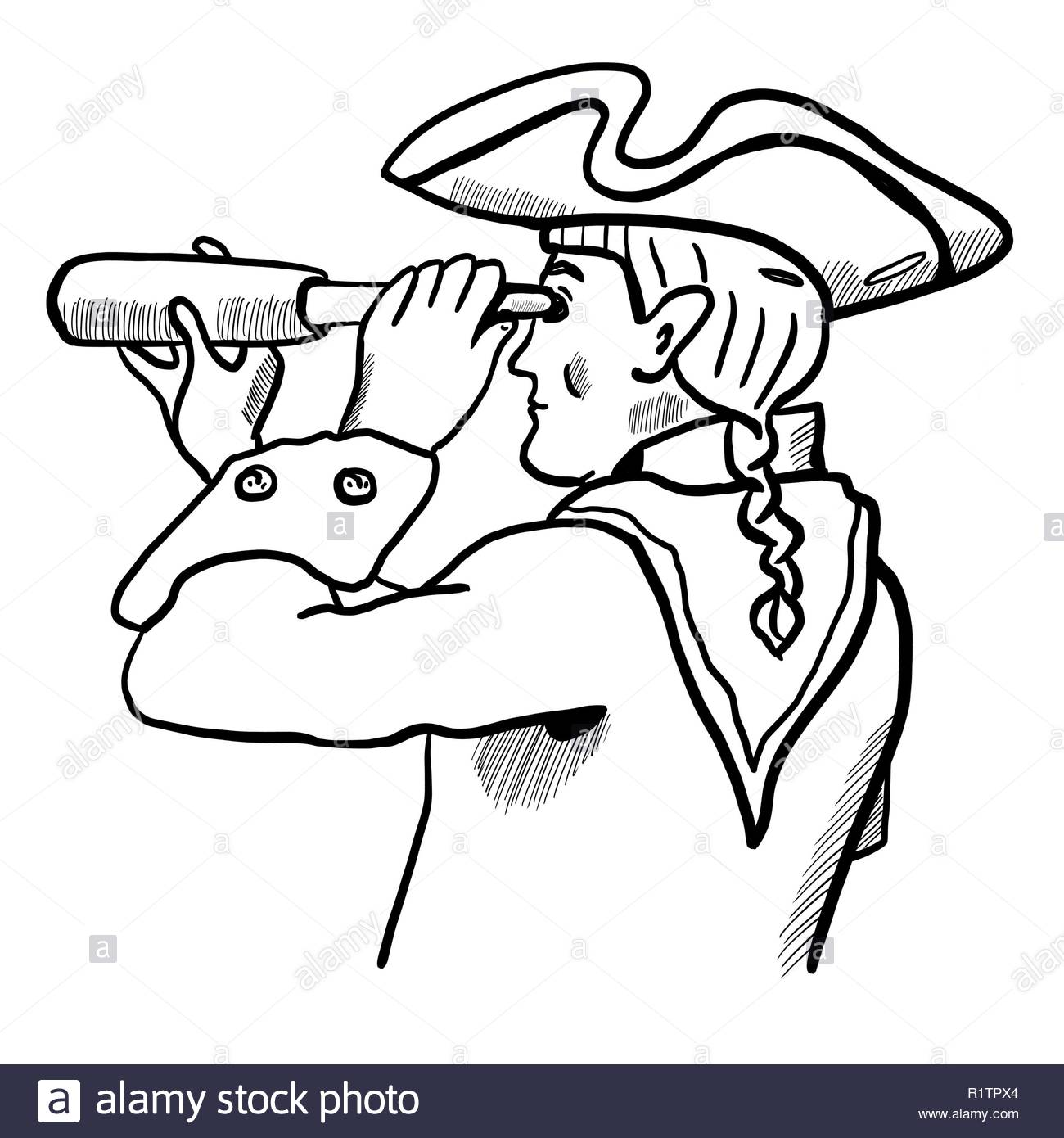 Brave captain in tricorn hat, scarf, uniform with telescope. Marine officer portrait for design, scrapbooking, prints, posters, surface, covers. Man l - Stock Image