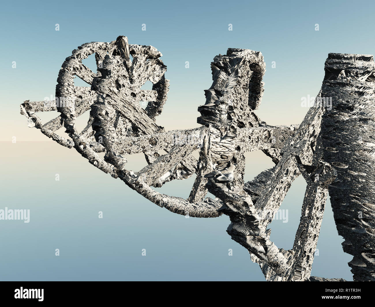 DNA chain made of bone or porous material - Stock Image