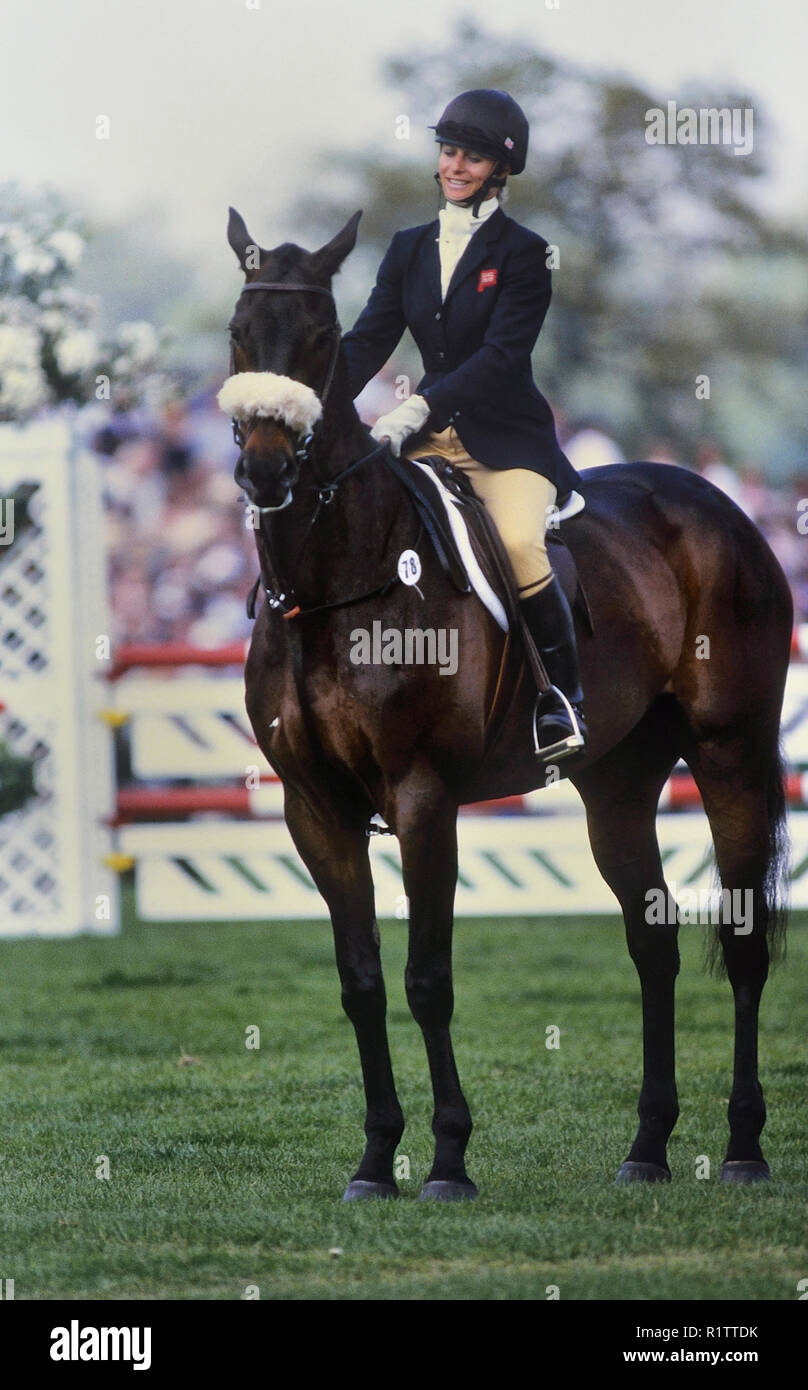 Virginia (Ginny) Leng with her horse Master Craftsman. Whitbread Trophy 1989. Badminton horse trials champion. England. UK - Stock Image