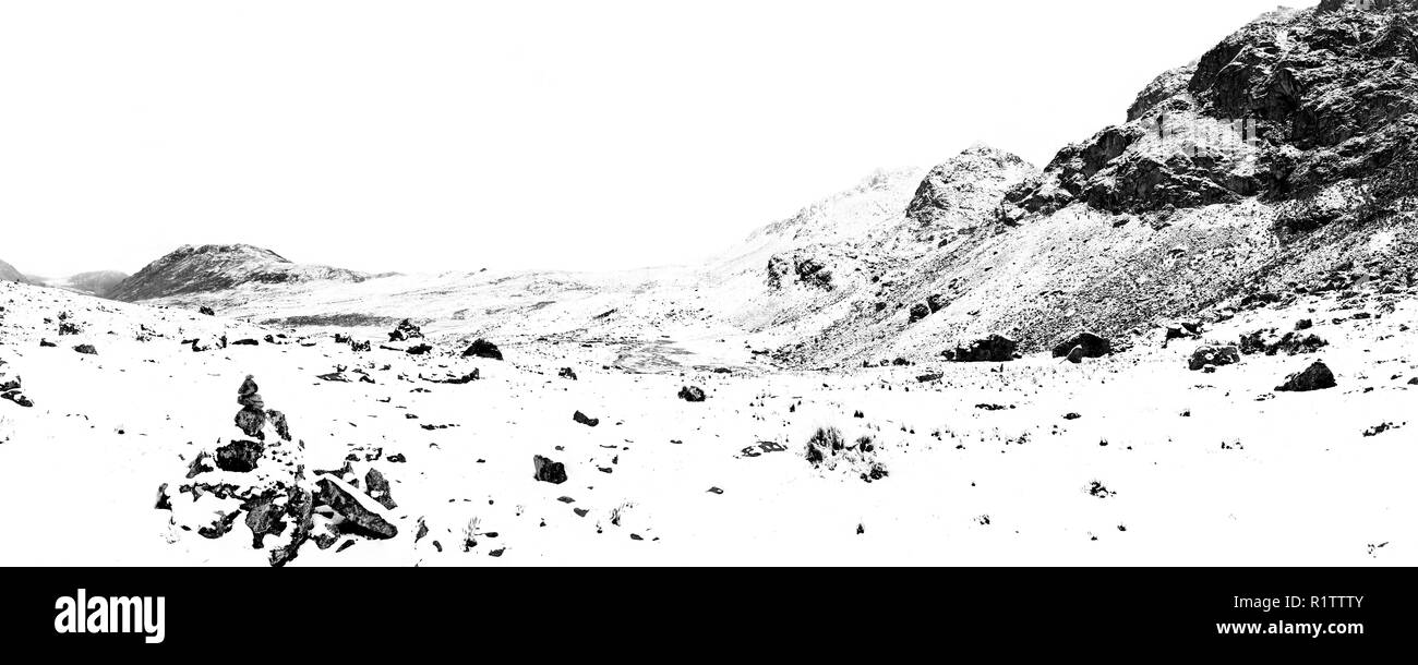 Imposing scenery after a heavy snowfall in the Huaytapallana mountain range in the central Andes of Peru. - Stock Image
