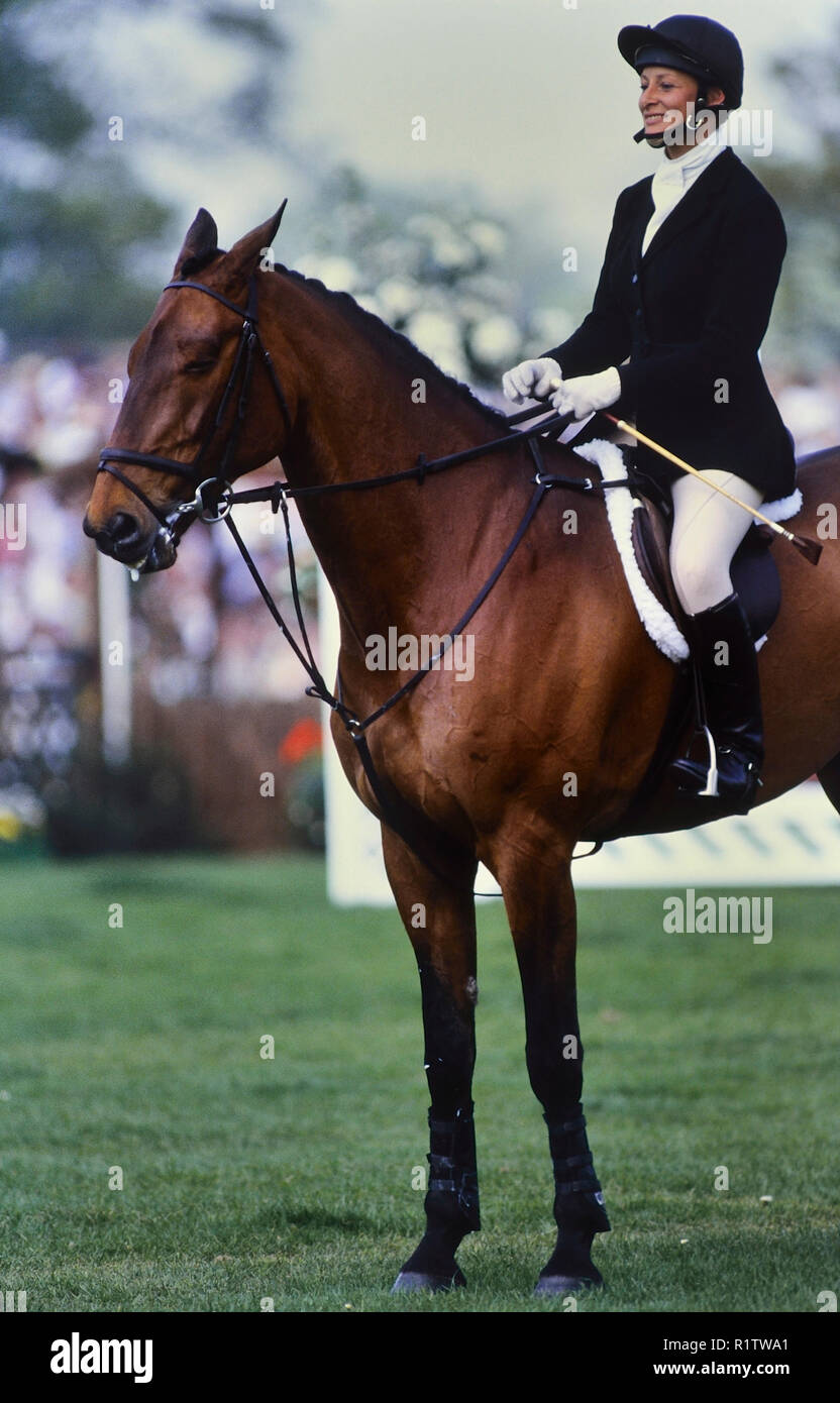 Lizzie Purbrick, Whitbread Trophy 1989. Badminton horse trials champion. England. UK - Stock Image