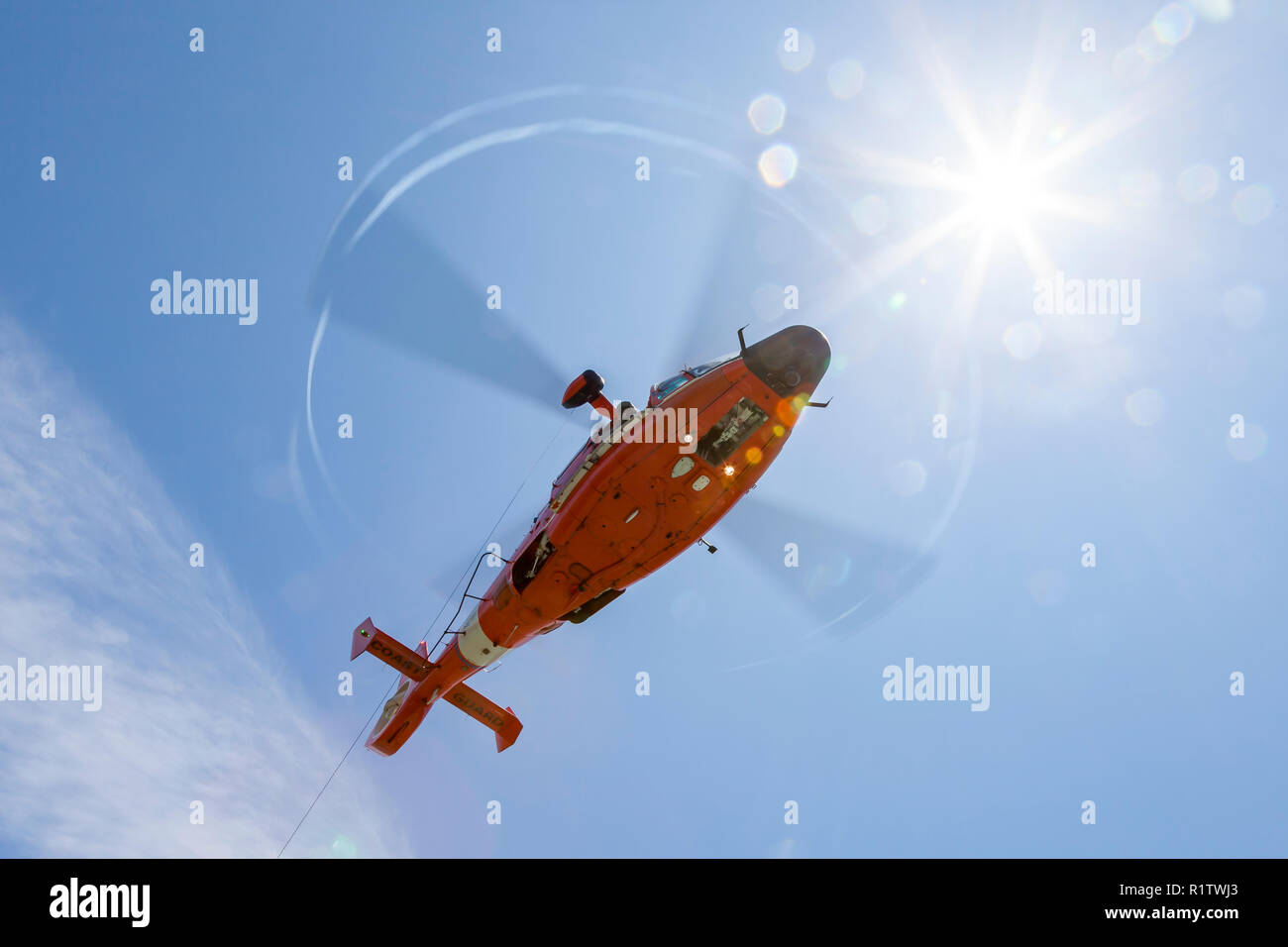 Flight Engineer looks down from the door of an USCG MH-65 Dolphin helicopter - Stock Image