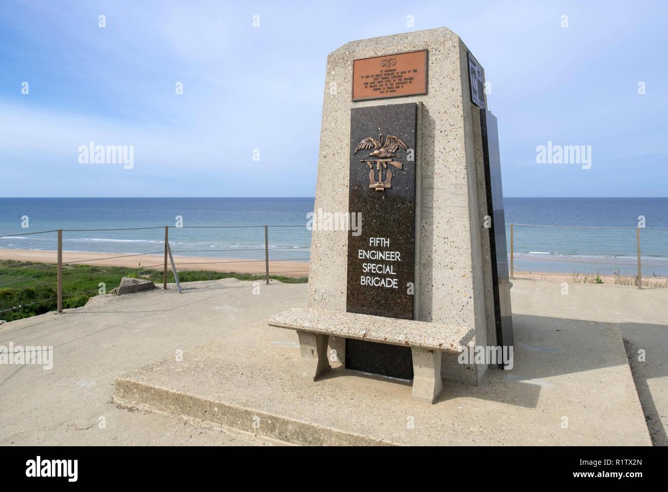 Fifth Engineer Special Brigade Memorial at Omaha Beach, Colleville-sur-Mer, Calvados, Normandy, France Stock Photo
