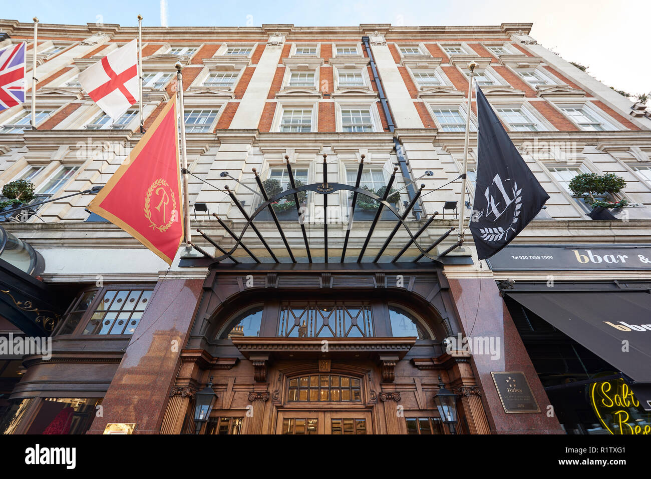 Low angle fisheye shot of facade of 41 Hotel in London, UK, near Buckingham Palace and Victoria Station. - Stock Image