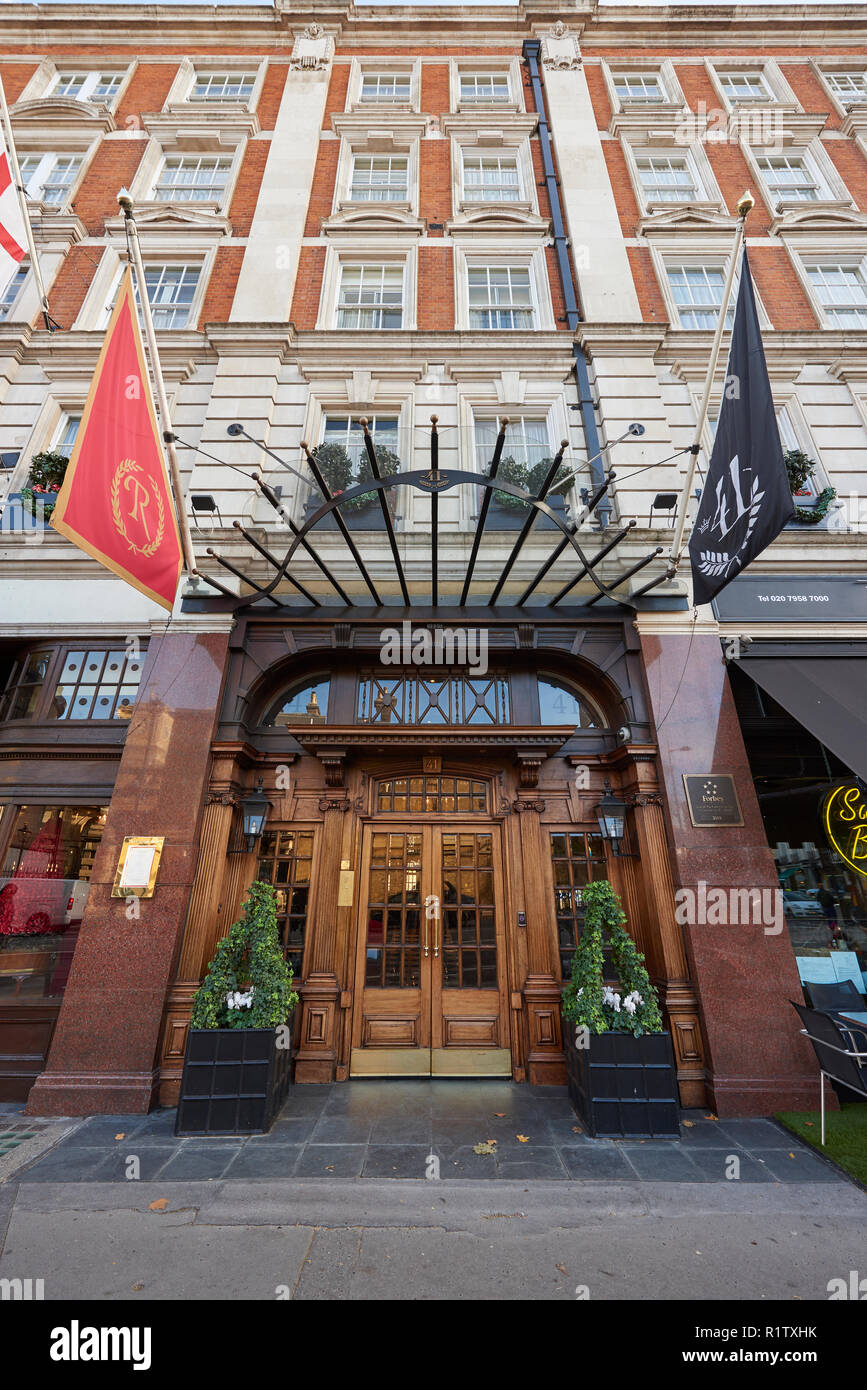 Low angle fisheye shot of facade of 41 Hotel in London, UK, near Buckingham Palace and Victoria Station. Stock Photo