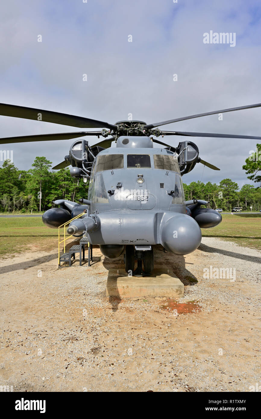 Pave Low MH-53M IV Sikorsky helicopter used in the Vietnam War or the Jolly Green Giant or Super Stallion for special operations and rescue missions. - Stock Image