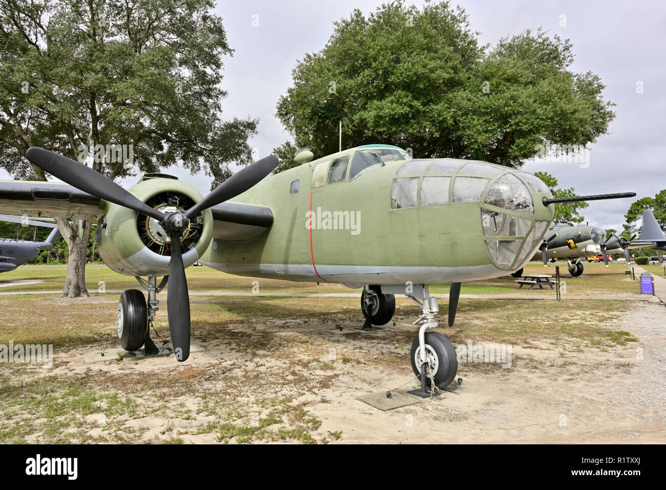 B-24 Mitchell a WWII or World War II medium bomber on static display at the outdoor museum, Eglin AFB, Fort Walton Beach Florida, USA. - Stock Image