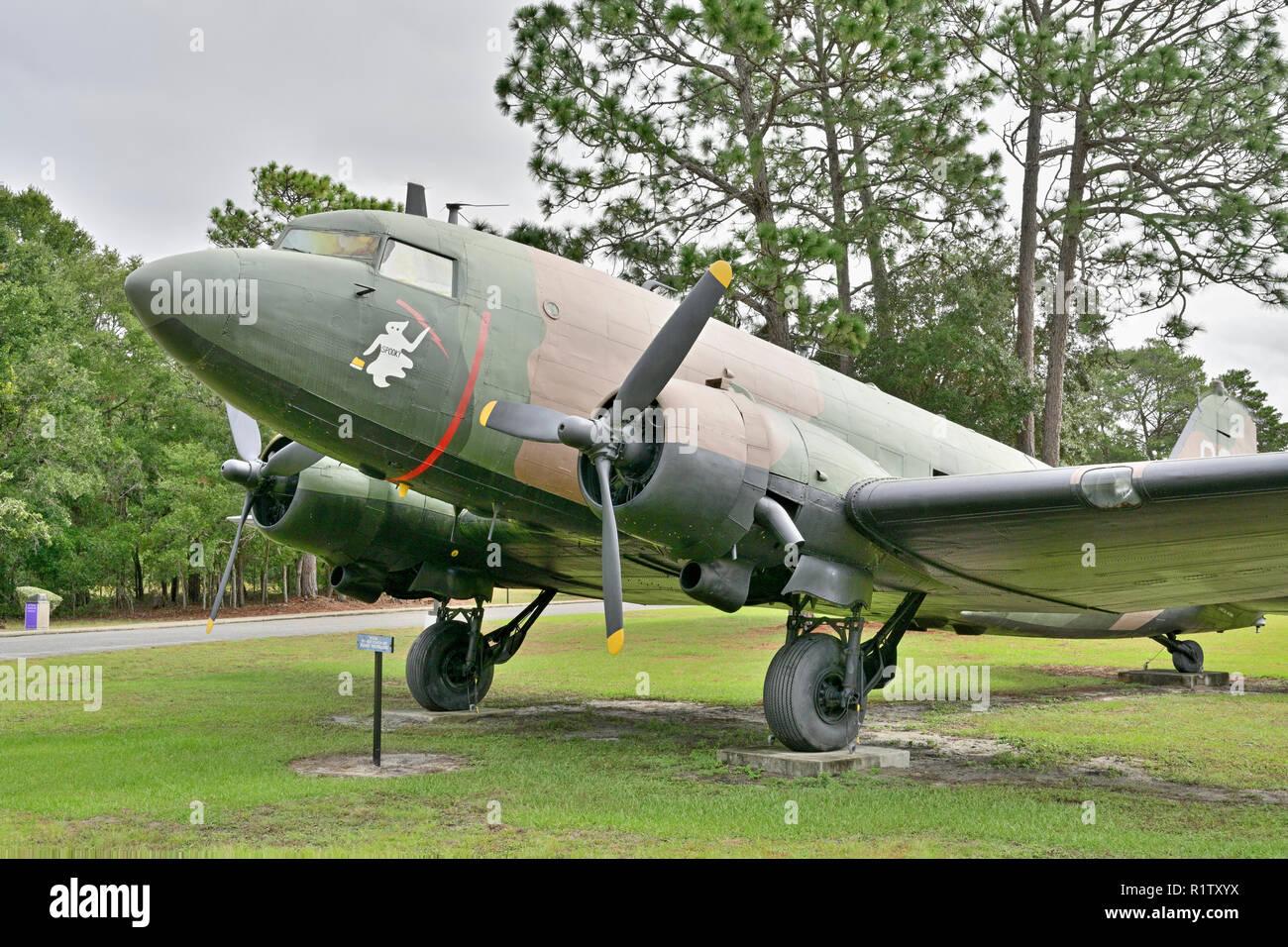 AC 47 Spooky Vietnam War era gunship on static display at the outdoor air museum at Eglin AFB, Fort Walton Beach Florida, USA. - Stock Image