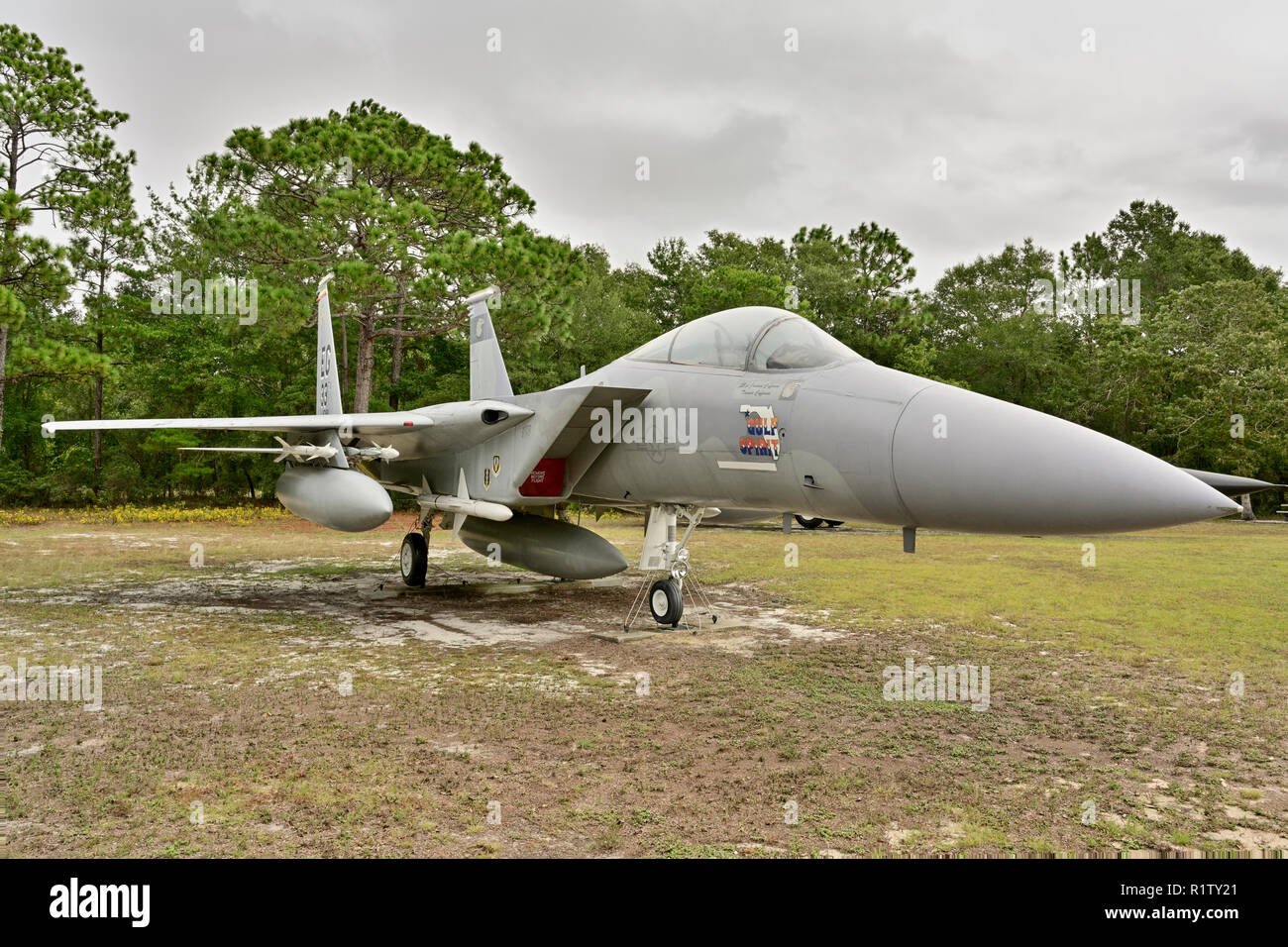 F-15 Eagle a fighter jet of the United States Air Force, on static display at the outdoor air museum on Eglin Air Force Base, Florida USA. - Stock Image