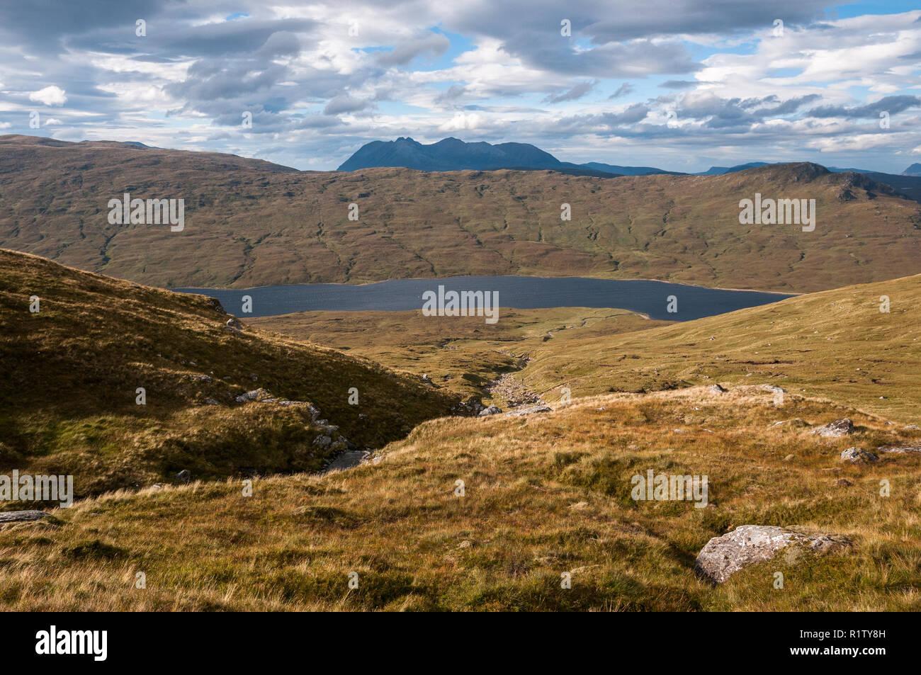 An Teallach from Druim Reidh in the western Fannaichs, Scotland Stock Photo