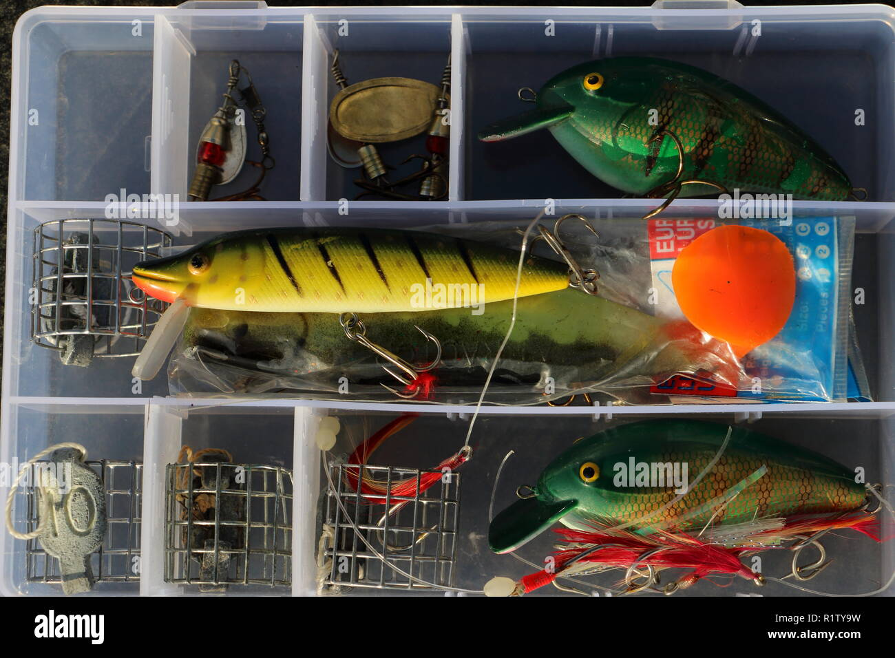 fishing tackle box for recreation and sports at the waterside Stock Photo