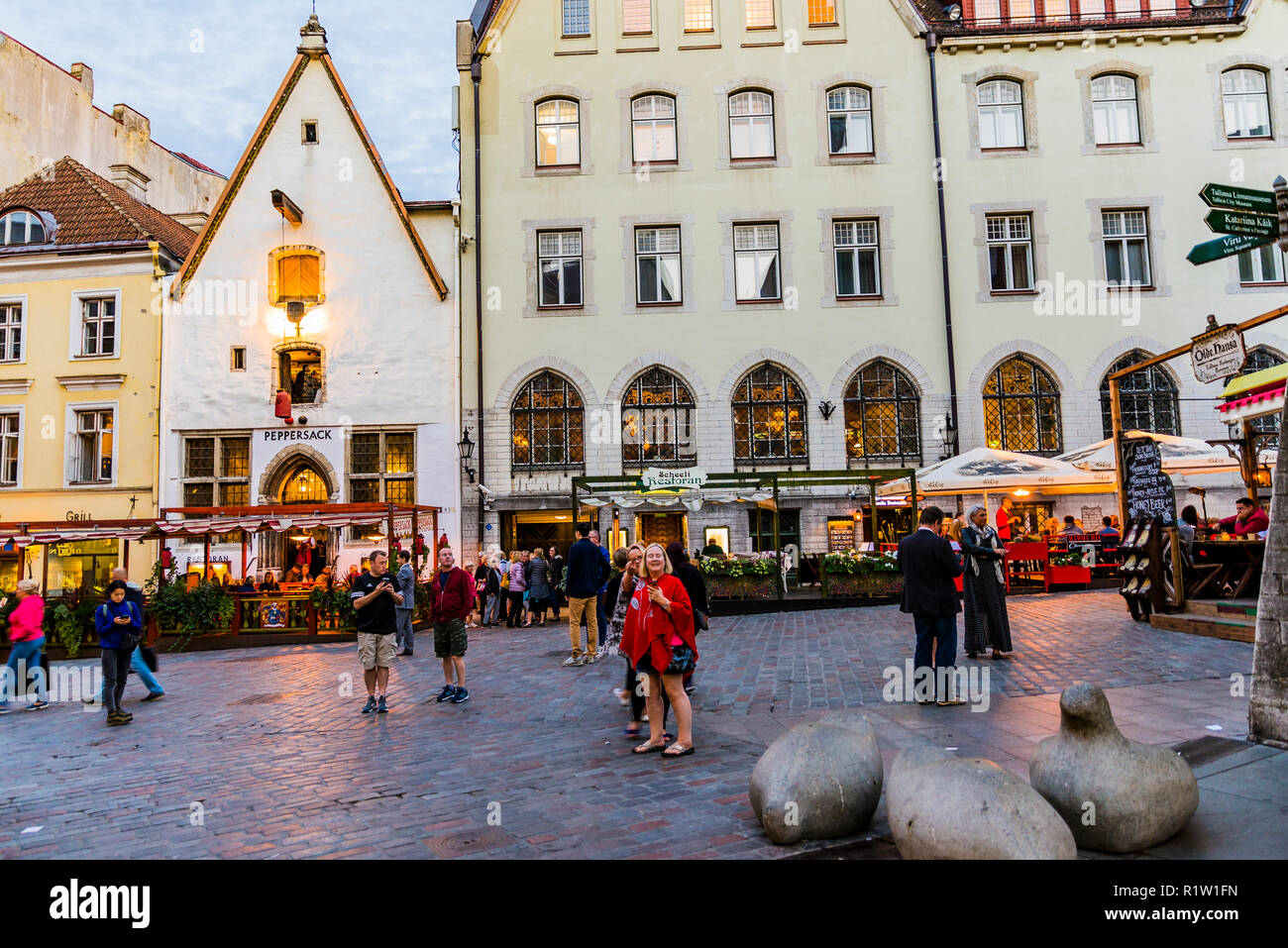 Tallinn Old City at nightfall. Tallinn, Harju County, Estonia, Baltic states, Europe. - Stock Image