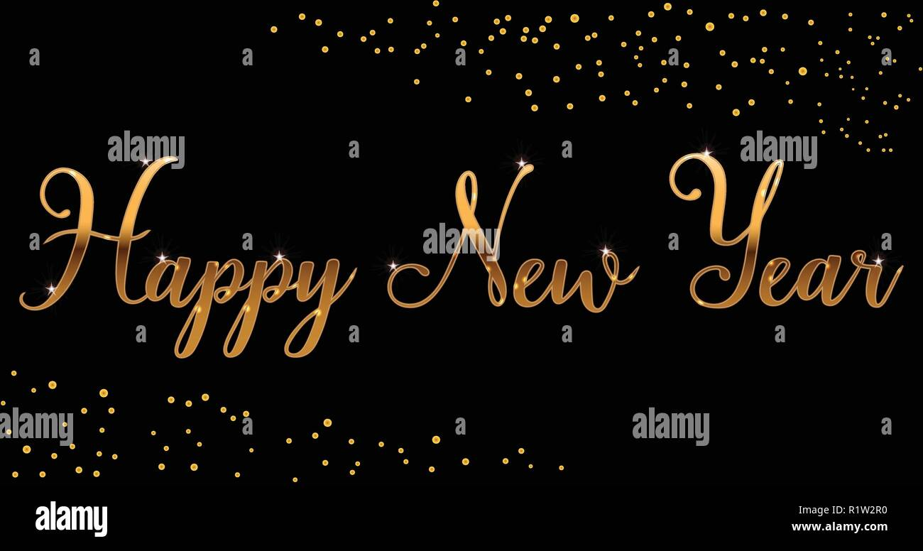 vector gold bright happy new year brush lettering text on black background for greetings cards advertising letters labels gifts packaging bann