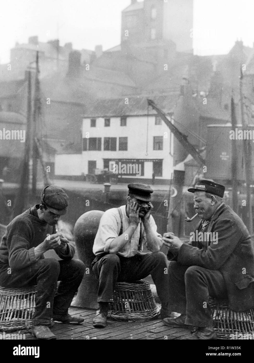 Fishermen, North Shields early 1900's - Stock Image