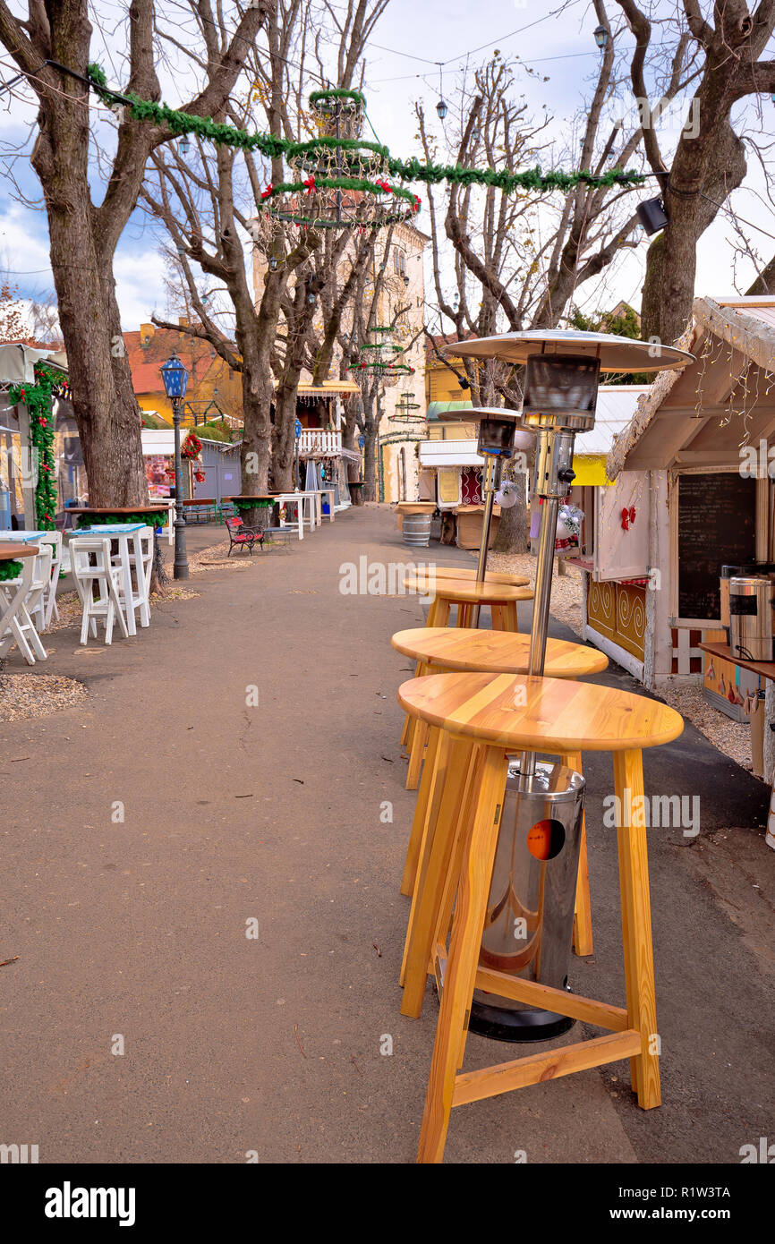 Zagreb upper town Christmas market street view, advent in capital of Croatia - Stock Image