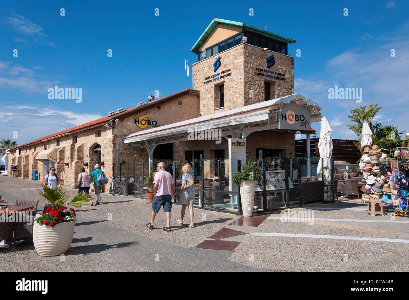 Cyprus Ports Authority building and Hobo Cafe on harbour promenade, Paphos (Pafos), Pafos District, Republic of Cyprus - Stock Image