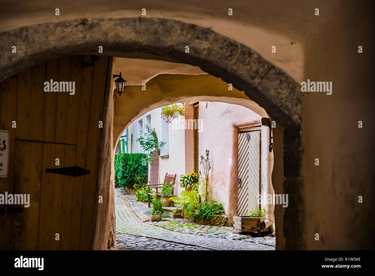 The buildings often have courtyards with business. Tallinn, Harju County, Estonia, Baltic states, Europe. - Stock Image