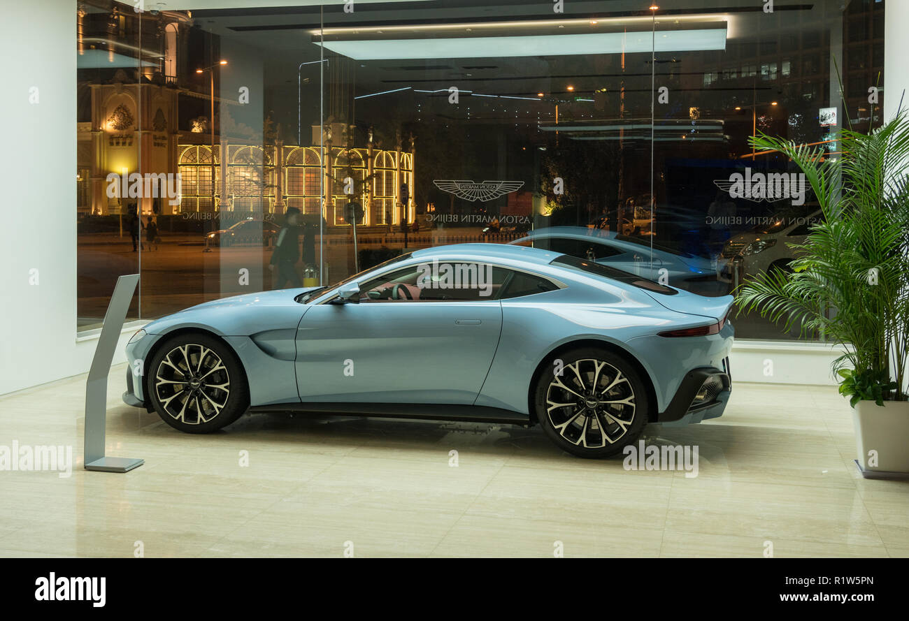 Aston Martin showroom in Beijing China with new Vantage car on display Stock Photo