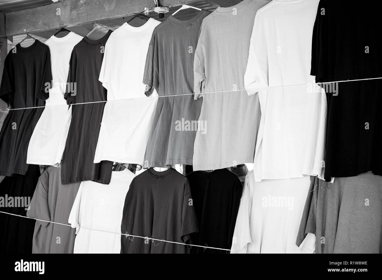 86b86c04d Tshirts hang in local shop or market in castries, st.lucia. Colorful clothes