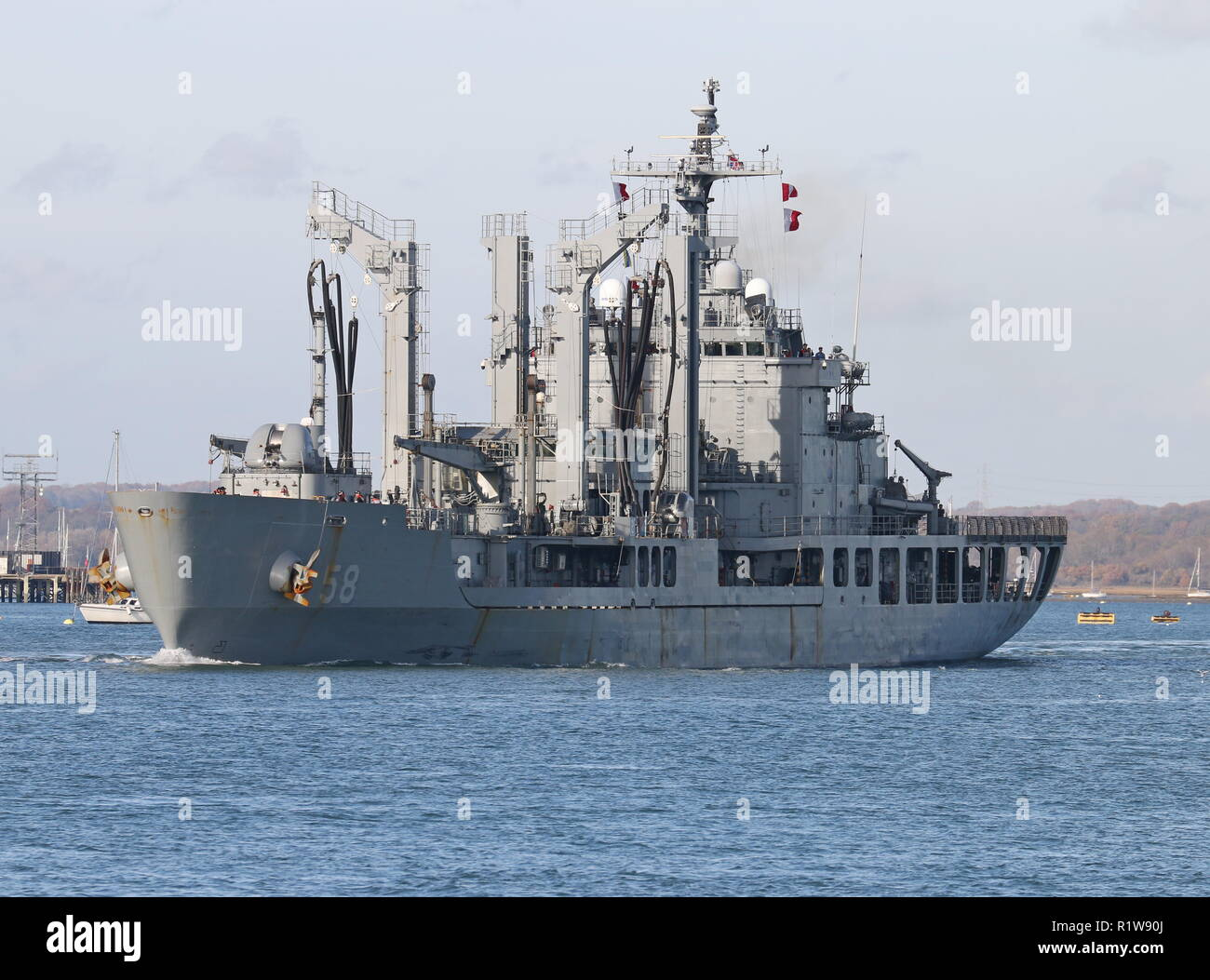 The Republic of Korea support ship Daocheong leaving Portsmouth Harbour, UK on 14th November 2018. Stock Photo