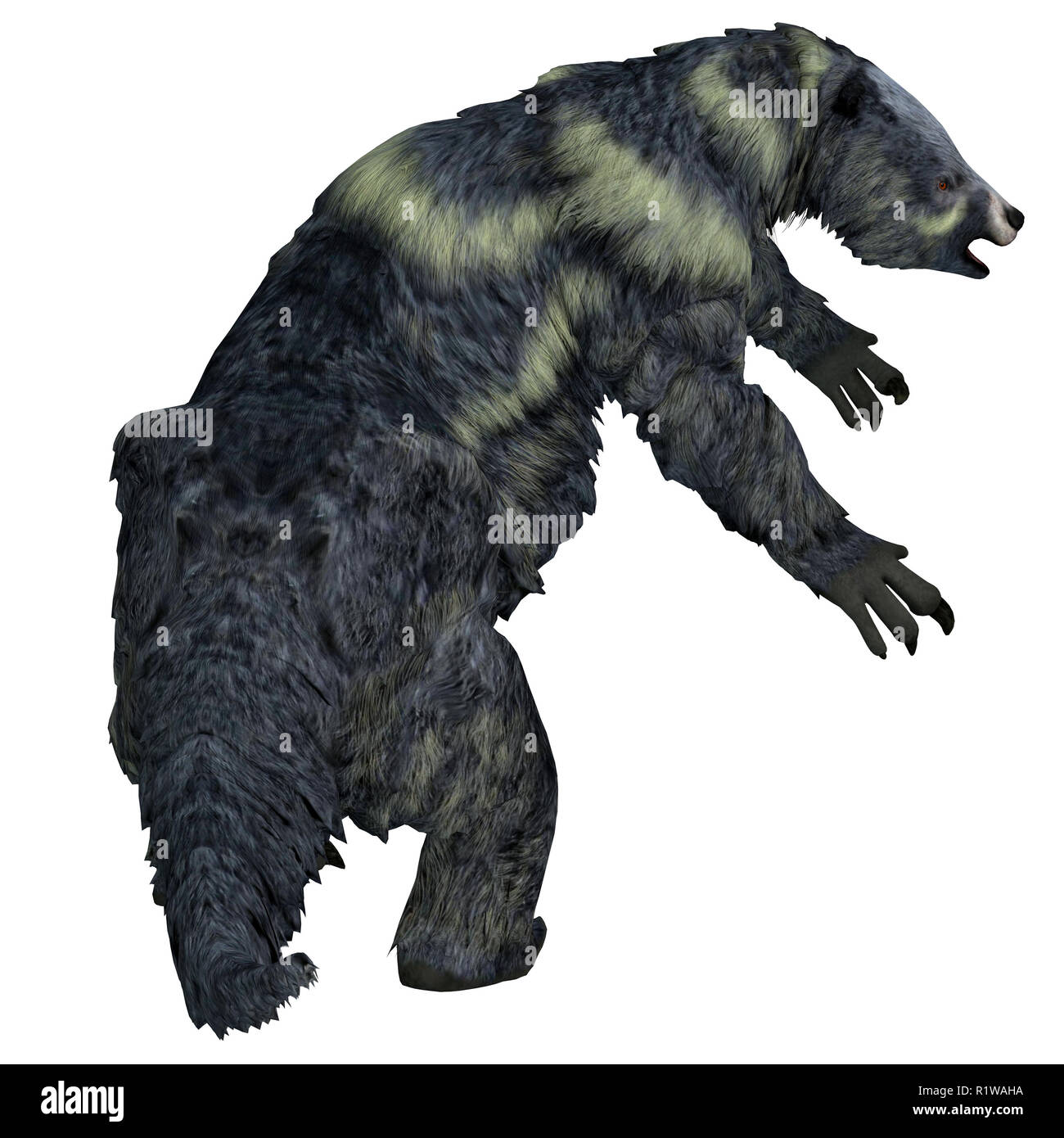 Eremotherium was a herbivorous Giant Ground Sloth that lived in North and South America during the Pleistocene Period. - Stock Image