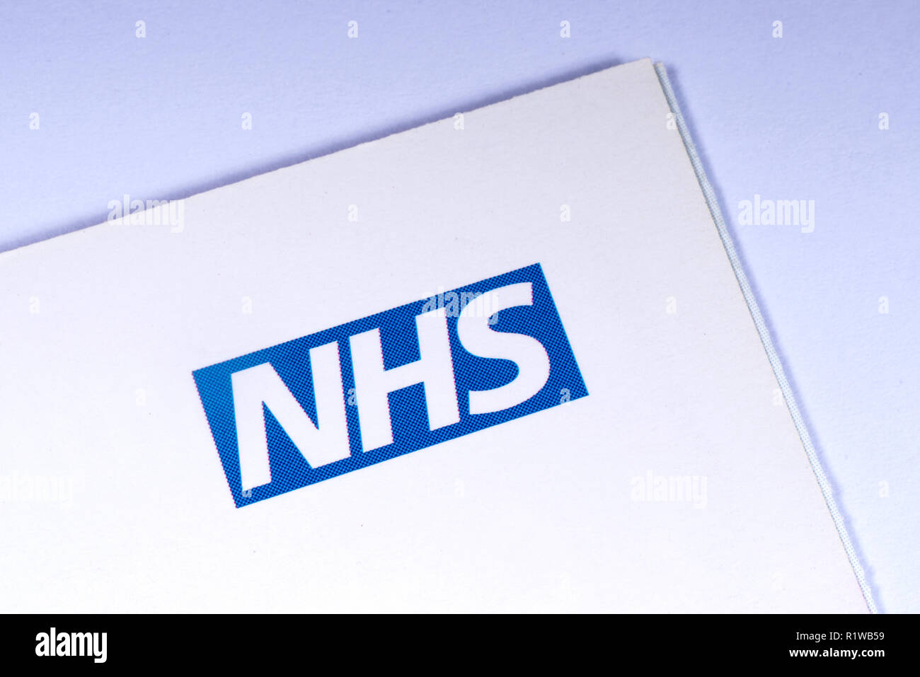 London, UK - November 14th 2018: A close-up of the NHS - National Health Service logo, pictured on an information leaflet. - Stock Image