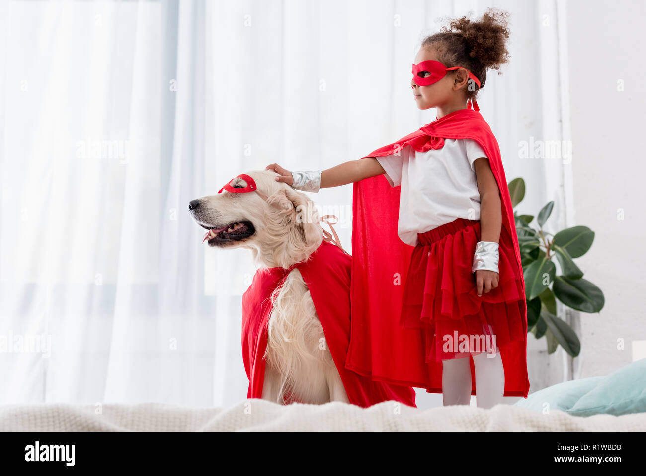 Side view of cute little african american kid and dog standing on the bed - Stock Image