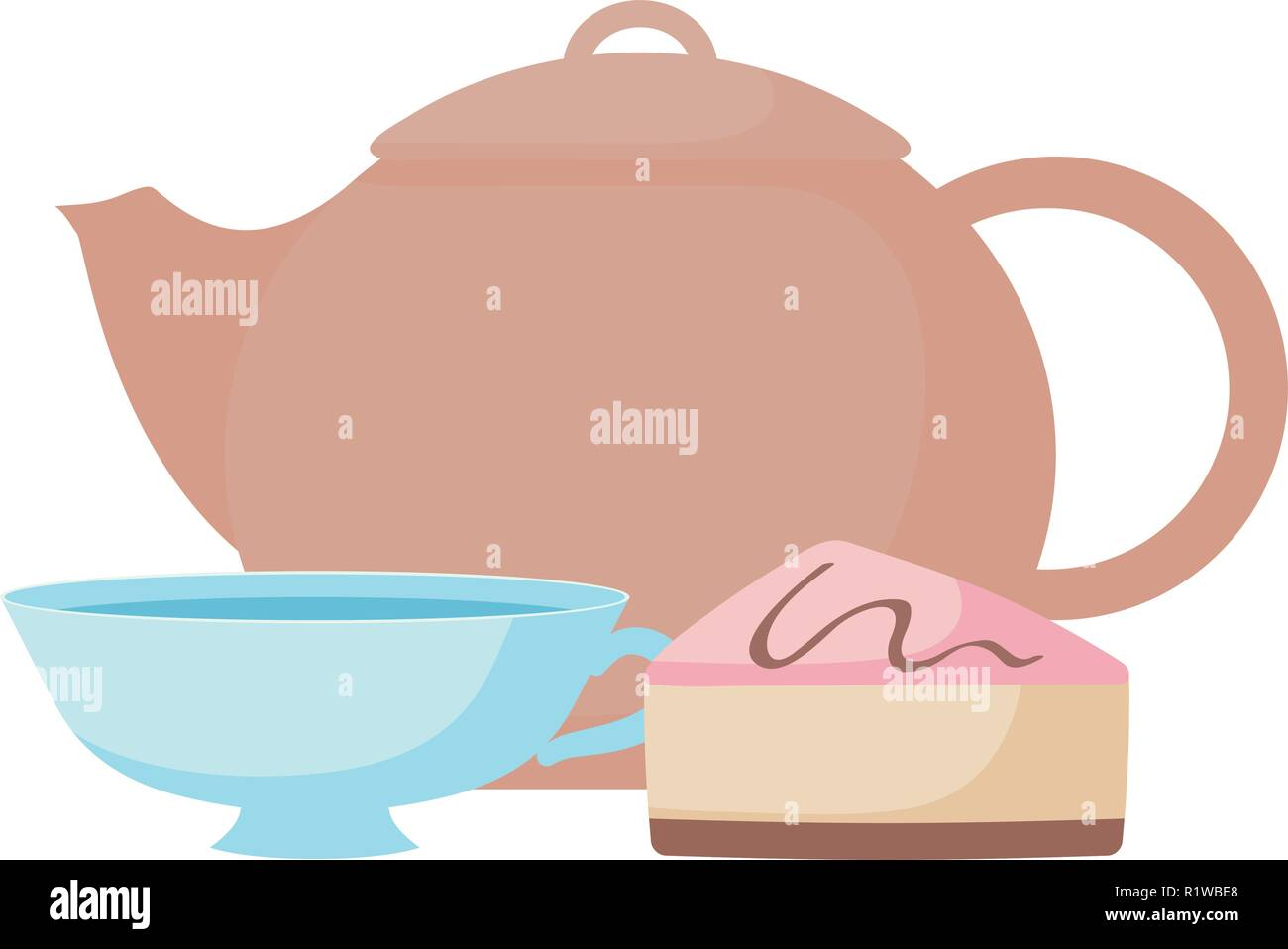 teapot with cups over white background, vector illustration - Stock Vector