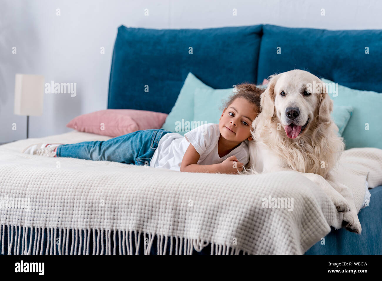 Cute little african american kid with happy dog lying on bed with colourful pillows - Stock Image