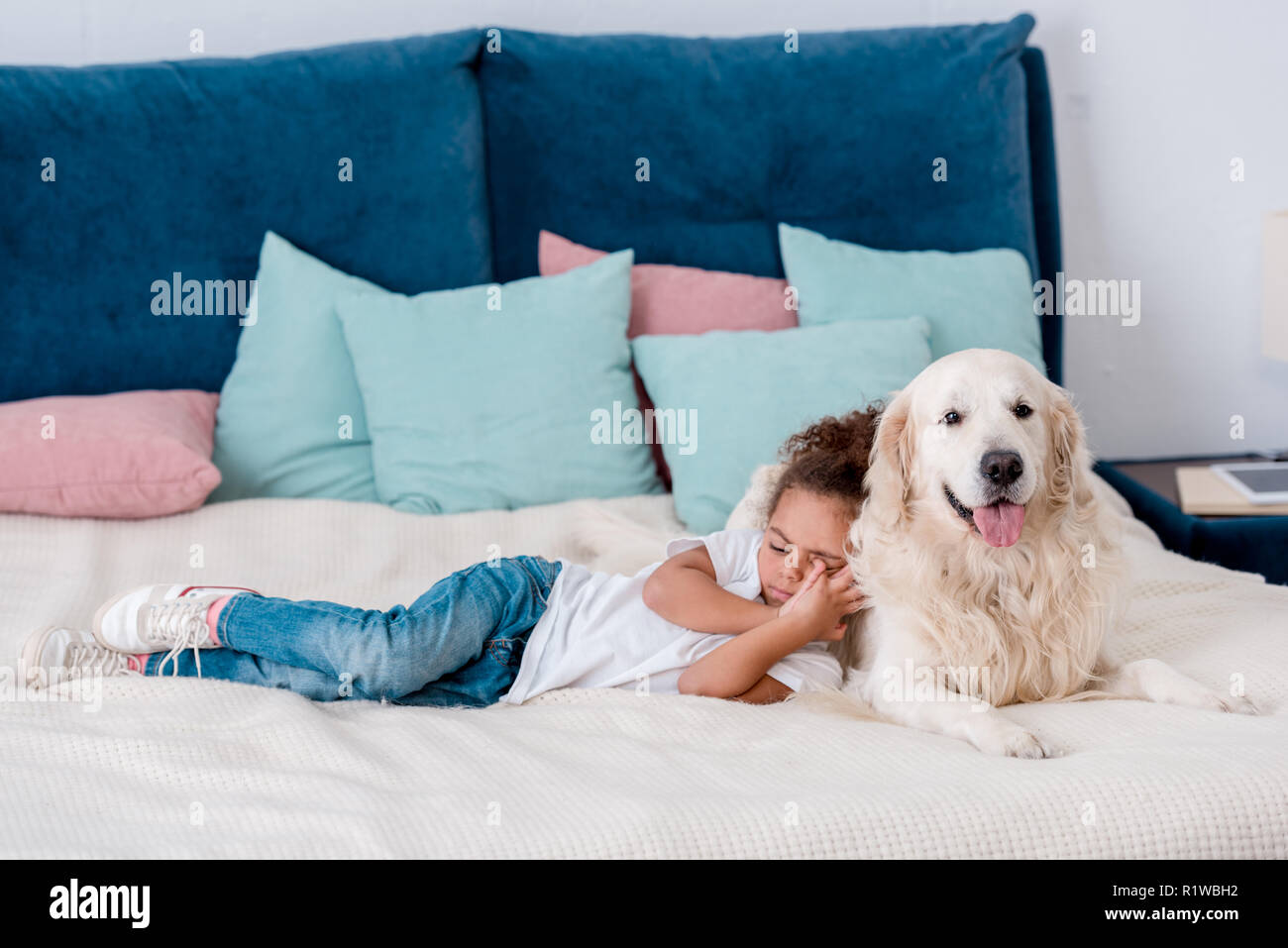 Cute little african american kid lying on bed and leaning to dog - Stock Image