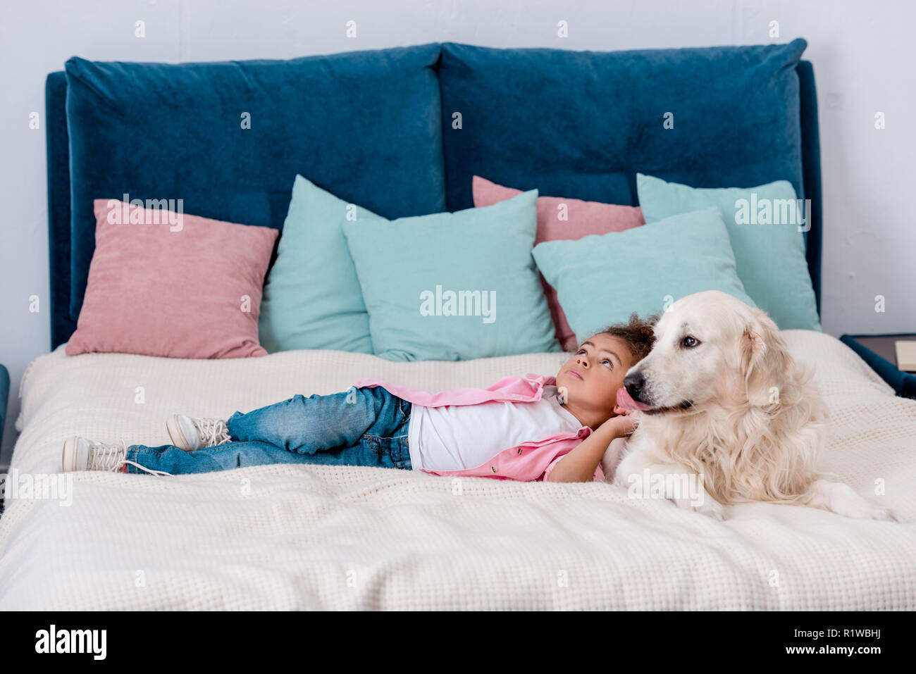 Adorable little african american kid in pink jacket lying on bed with dog while looking away - Stock Image