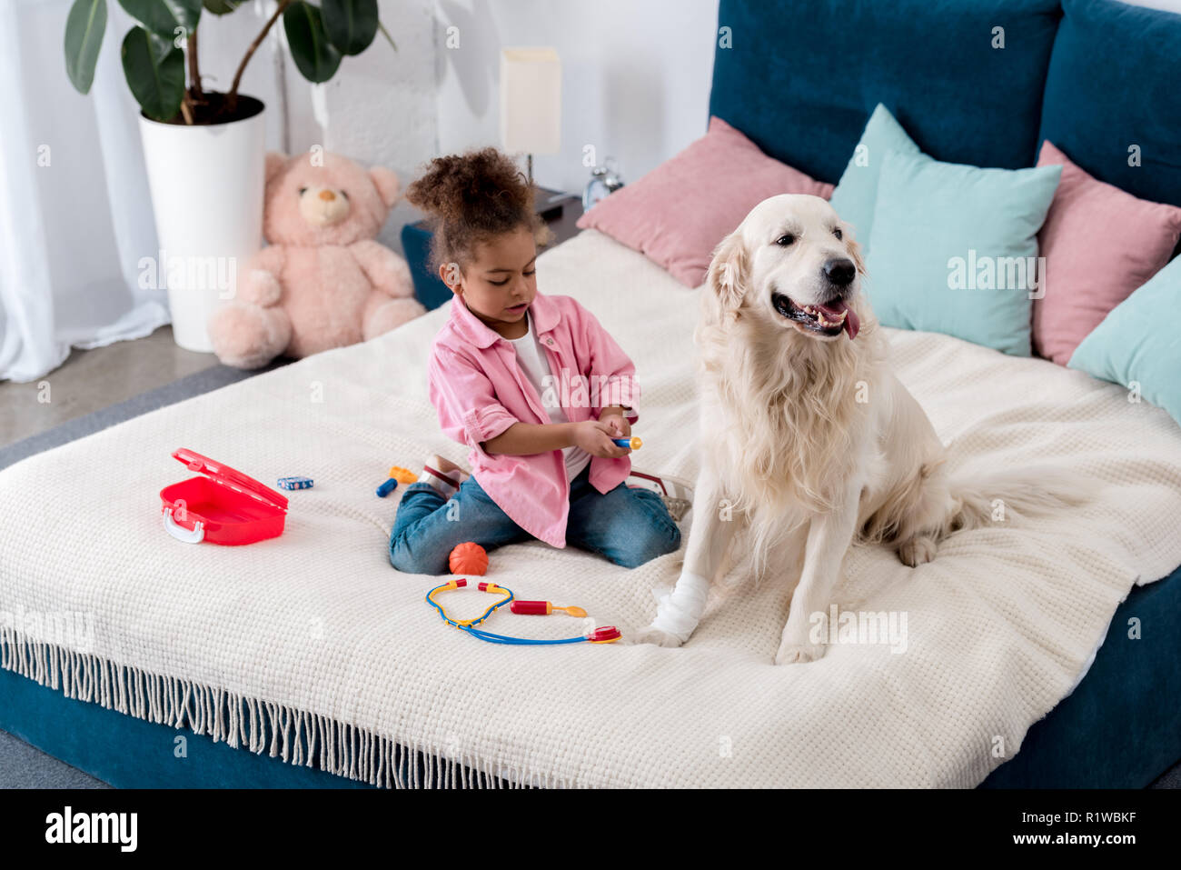Curly african american kid playing doctor with her dog Stock Photo