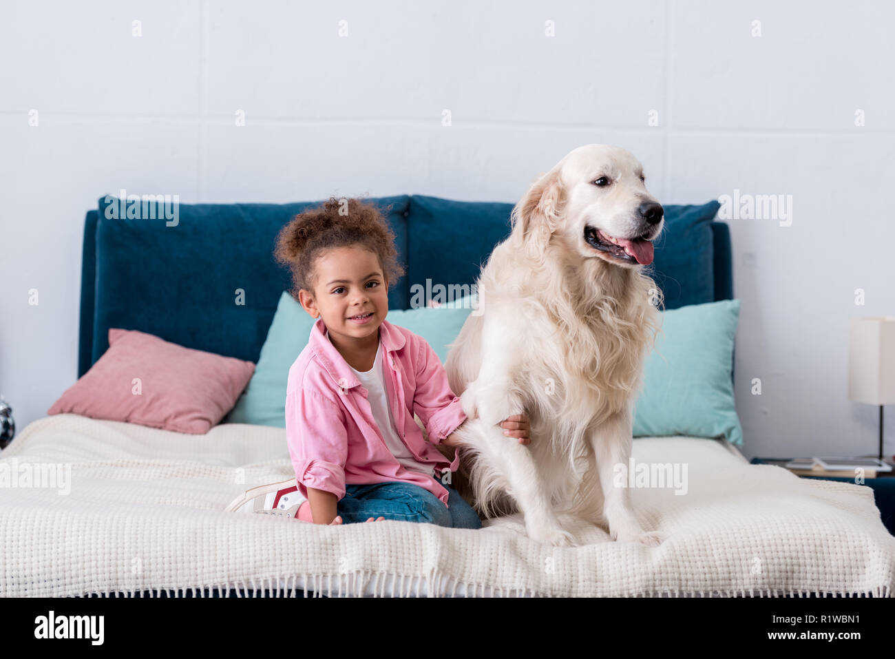 cute african american kid sitting on the bed and holds dog paw - Stock Image