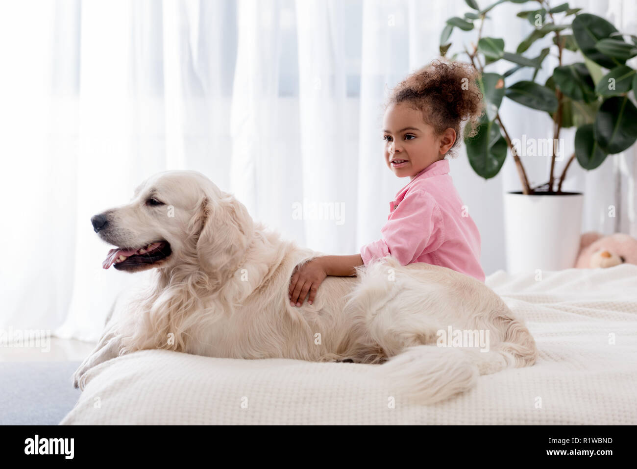Adorable african american kid hugs her dog on the bed - Stock Image