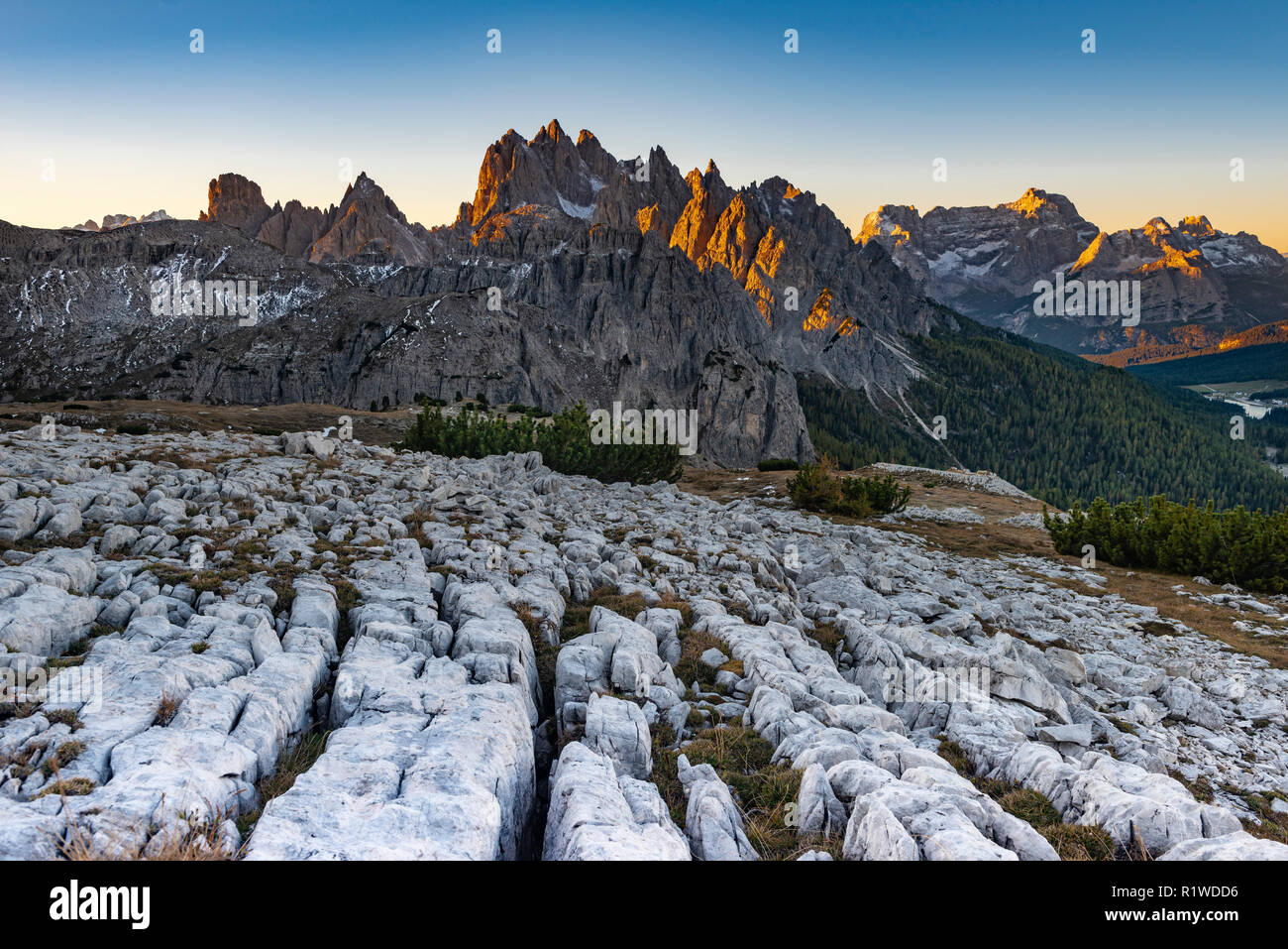 Karst mountains, Dolomites with first sunlight, South Tyrol, Italy Stock Photo