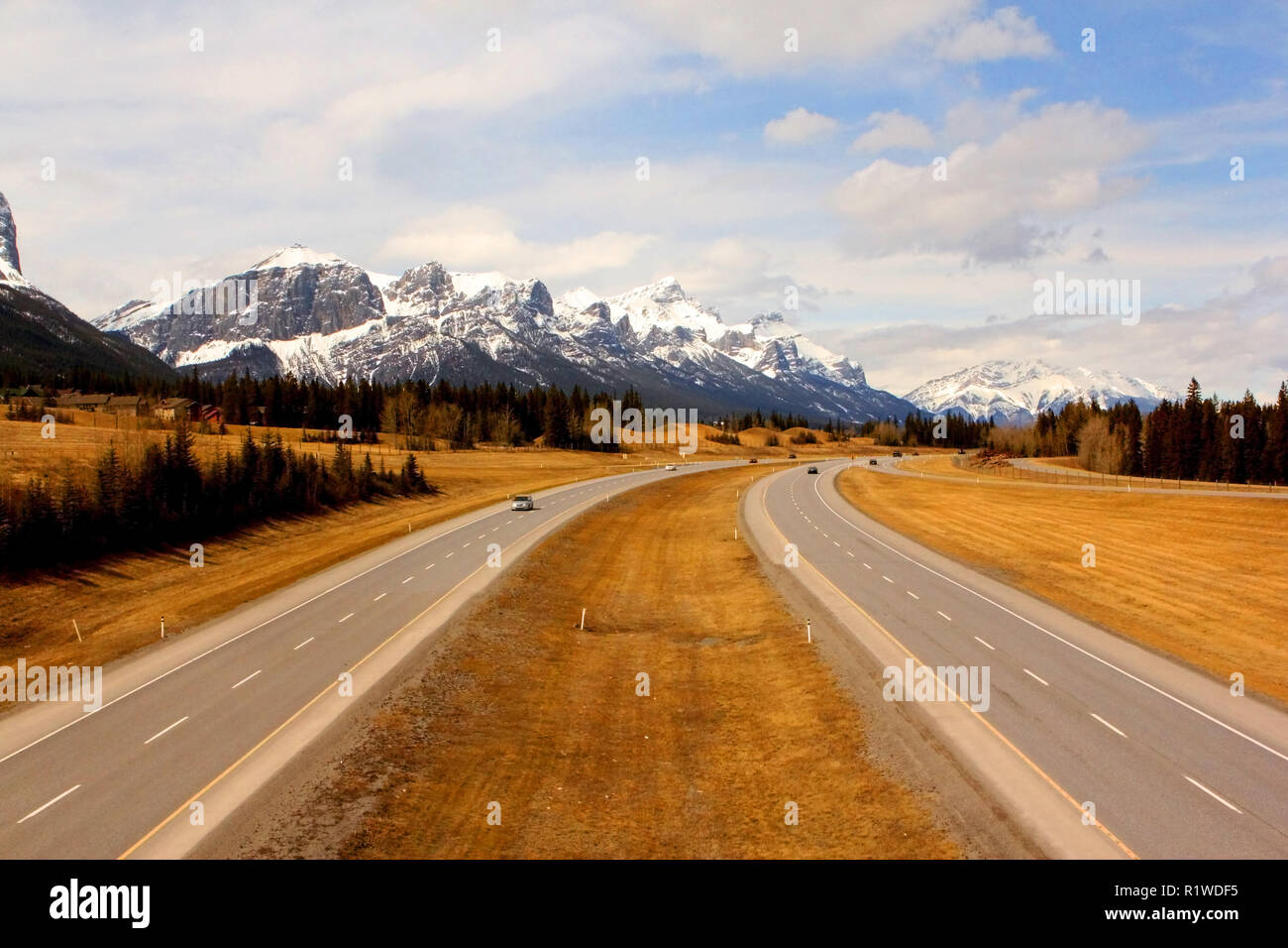 Road to  the Rockies in alberta, Canada Stock Photo
