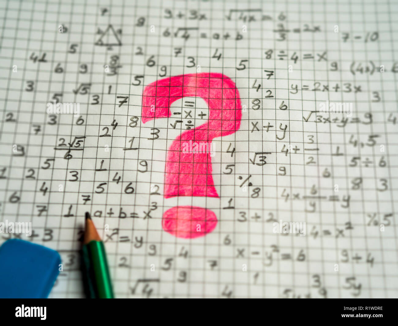 math problem solving consept visual. mathematical signs and red question mark Stock Photo
