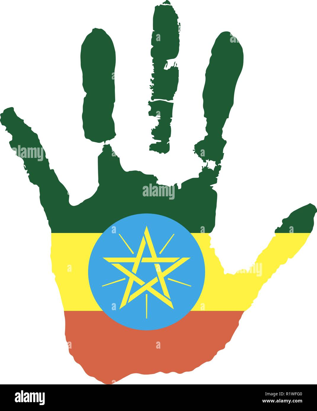 green, yellow, red color of the flag. vector handprint in the form of the star flag of Ethiopia. - Stock Vector