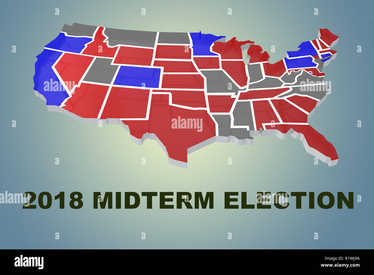 3D illustration of 2018 MIDTERM ELECTION script under an embossment of the United States of America - Stock Image