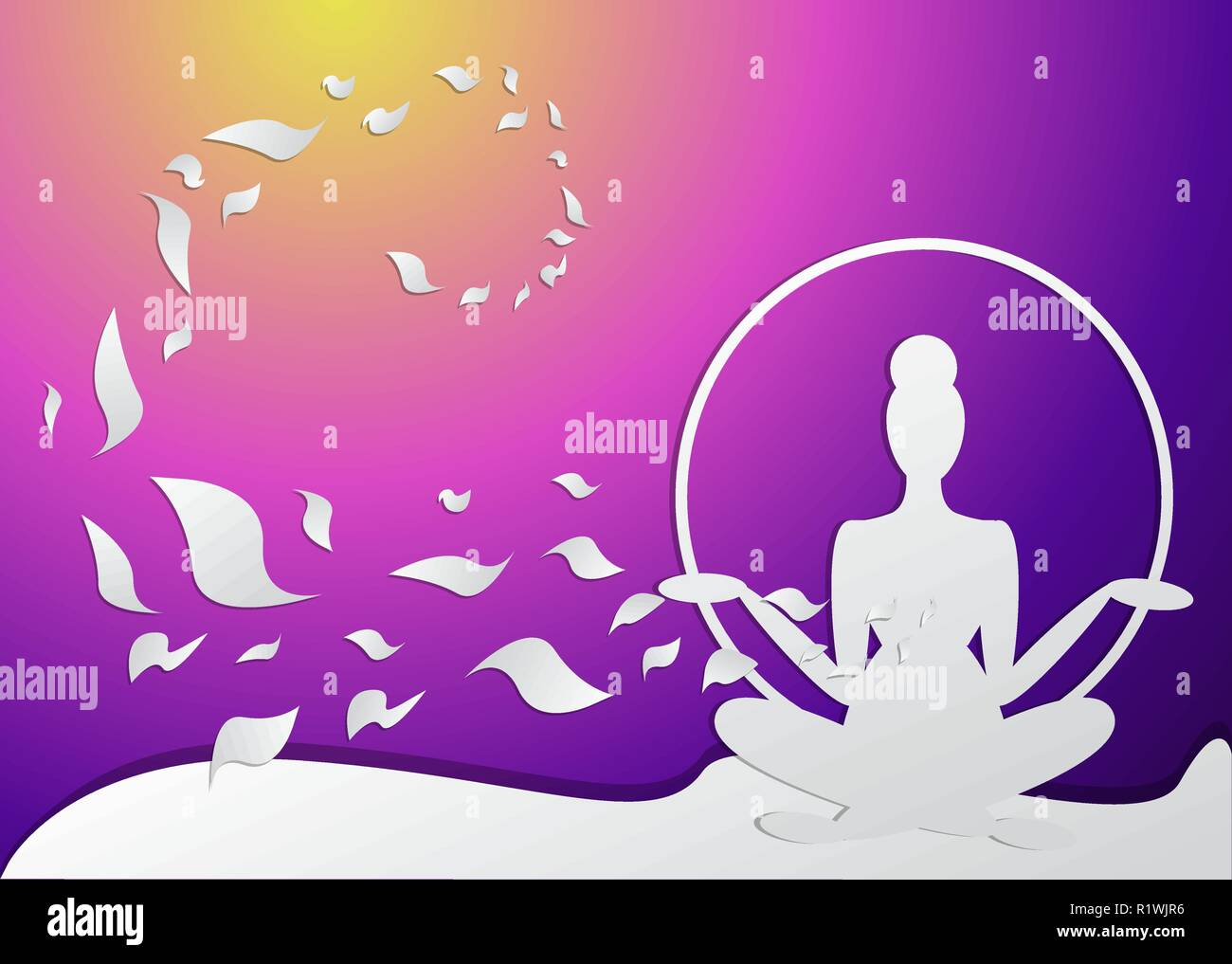 Girl Silhouette Meditate Yoga Pose Logo For Spa Featured Background Neon Colors And Paper Crafted Woman For Web And Print Vector Illustration Wi Stock Vector Image Art Alamy