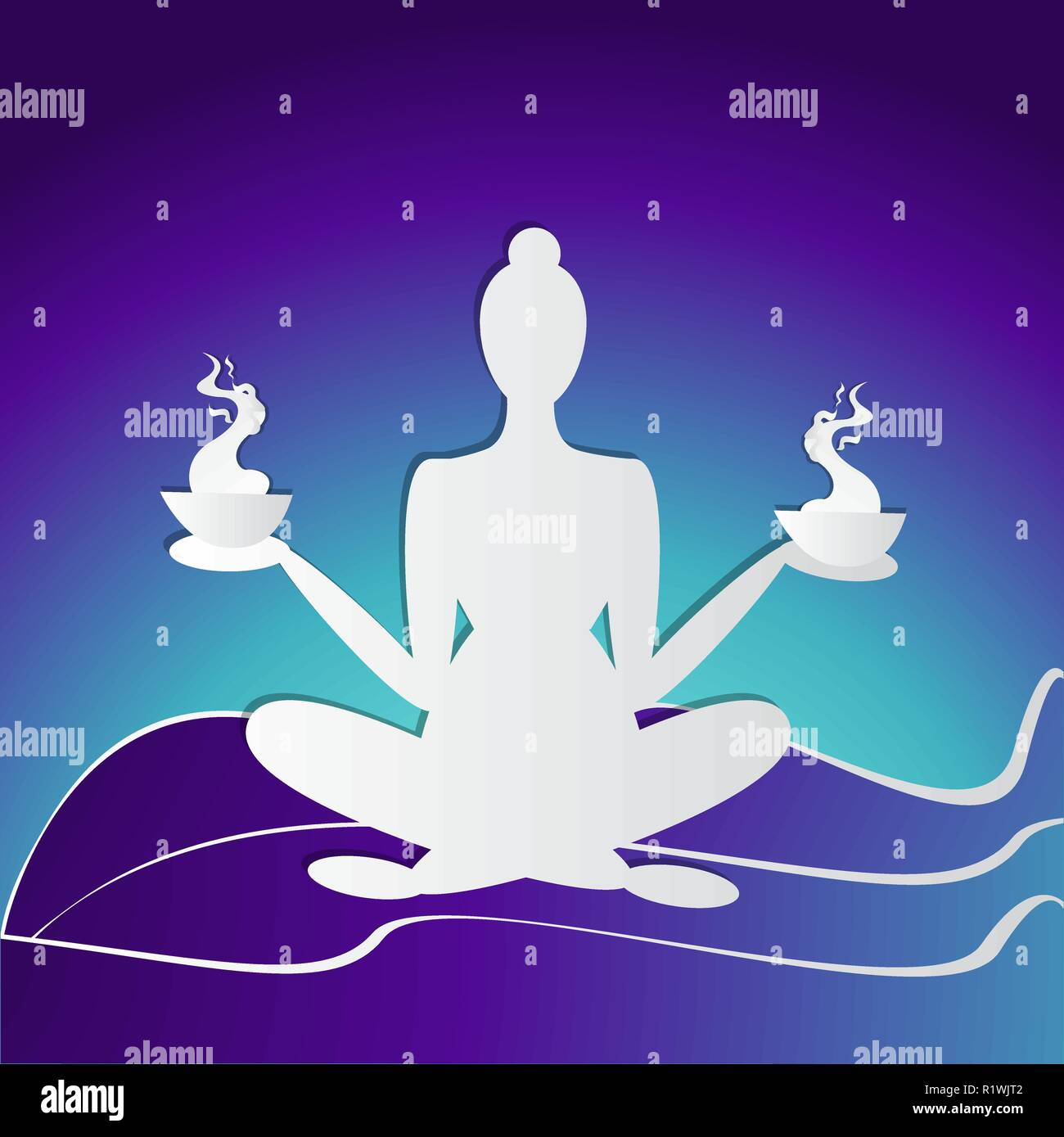 Girl Silhouette Meditate Yoga Pose Logo For Spa Featured Background Neon Colors And Paper Crafted Woman For Web And Print Vector Illustration In Stock Vector Image Art Alamy