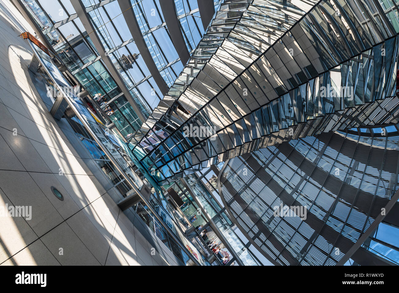 The inside of the dome on top of the Reichstag building in Berlin, Germany. - Stock Image